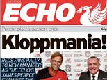 Front cover of Liverpool Echo lead with the headline 'Kloppmania' on Friday in tribute to Jurgen Klopp