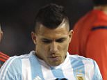 Argentina's Sergio Aguero is carried off the filed after an injury during a 2018 Russia World Cup qualifying soccer match against Ecuador in Buenos Aires, Argentina, Thursday, Oct. 8, 2015. (AP Photo/Natacha Pisarenko)
