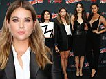 "NEW YORK, NY - OCTOBER 09:  Sasha Pieterse, Lucy Hale, Ashley Benson, Troian Bellisario and Shay Mitchell of ""Pretty Little Liars"" attend New York Comic-Con 2015 - Day 2 at The Jacob K. Javits Convention Center on October 9, 2015 in New York City.  (Photo by Laura Cavanaugh/Getty Images)"