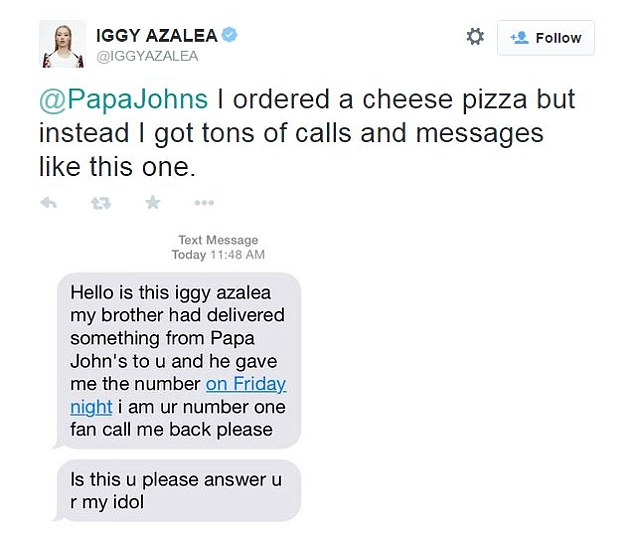 Iggy then shared the text messages that she was receiving from strangers after a Papa John's delivery guy gave out her number