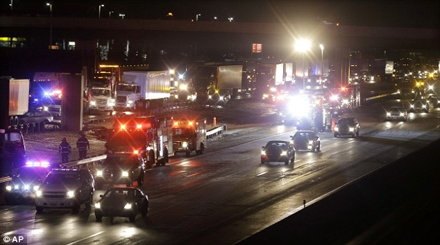 Wreckage: 40 vehicles total were involved in crashes in both the inner and outer lanes, according to New Jersey State Police