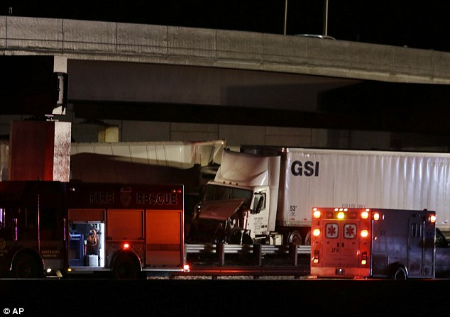 Devastation: The accidents began on the New Jersey Turnpike just before 9:15 p.m. Monday during a mix of rain and snow flurries and below-freezing temperatures in Cranbury