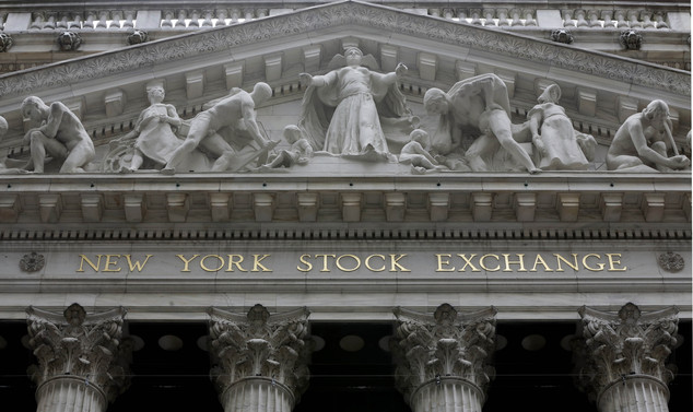 FILE - This Thursday, Oct. 2, 2014, file photo, shows the facade of the New York Stock Exchange. Stocks were mostly higher on Tuesday, Feb. 10, 2015, despite...