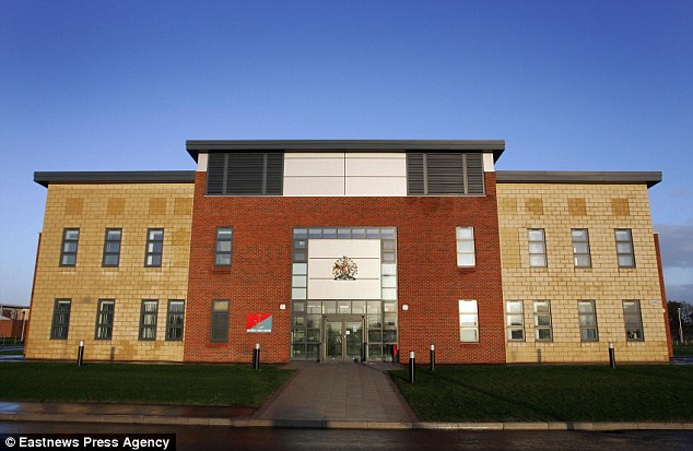 Liam Gadsby stood trial at Colchester Military Court (pictured) after denying a charge that he had maliciously wounded Service Aircraftman Jay Johnson while showing off a 'party trick'