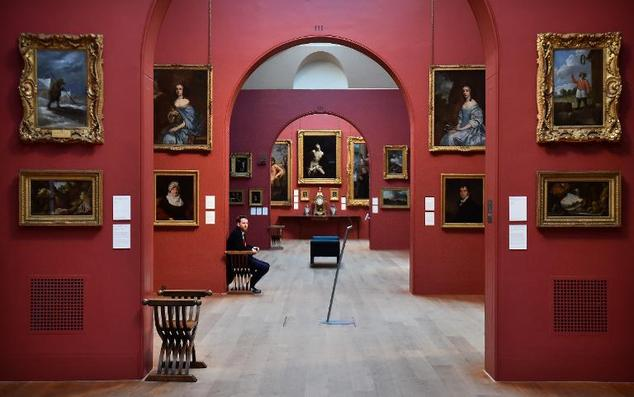 A security guard looks on in the Dulwich Picture Gallery in London on February 10, 2015