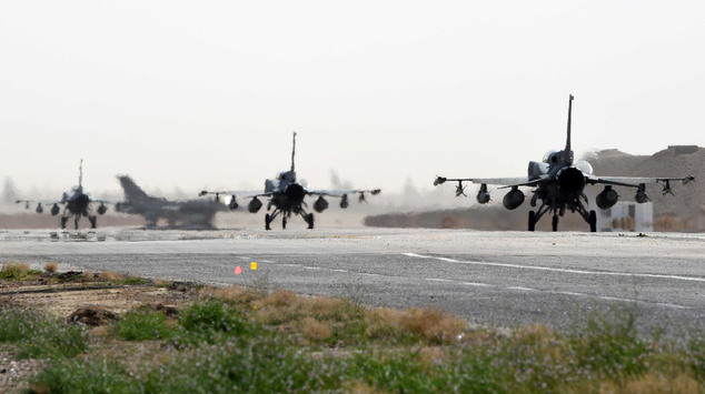 This photo released by WAM, the state news agency of the United Arab Emirates, shows Emirati F-16s at an air base in Jordan, Tuesday, Feb. 10, 2015. The Unit...
