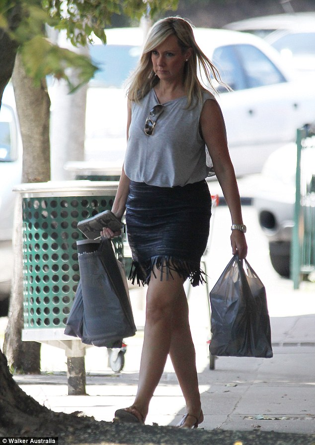 Trim pins! The mother of two showed off her sassy style in a leather mini skirt as she hit the shops in North Sydney recently