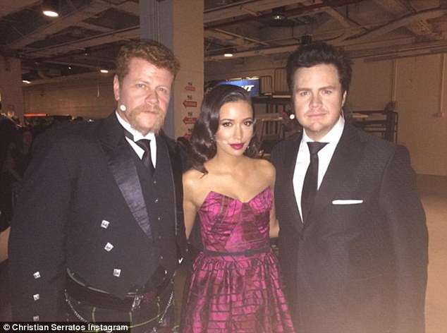 Burgundy beauty: Before making her grand entrance Christian stopped for a quick pic with co-stars Michael Cudlitz and Josh McDermitt with the caption, 'Here we come #twdfanpremiere @cudlitz @joshmcdermitt'