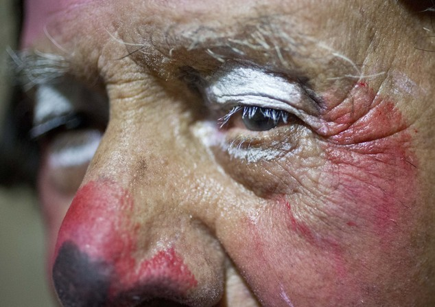 "In this Feb. 7, 2015 photo, veteran clown Ricardo Farfan, popularly known as ""Pitito,"" poses for a portrait wearing face paint after performing for his 91st ..."