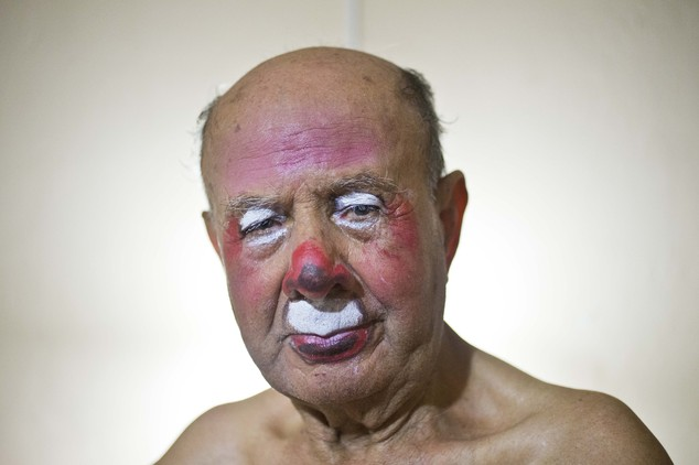 "In this Feb. 7, 2015 photo, veteran clown Ricardo Farfan, popularly known as ""Pitito,"" poses for a portrait after performing at his 91st birthday party in hi..."