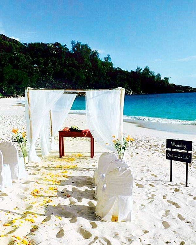 Stunning location: The couple chose the Seychelles as their ideal wedding spot