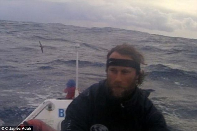 Strong waves: Despite their positive start, Mr Adair and Mr Stenning (pictured several weeks in) quickly realized that their row would be a 'relentless' battle between themselves, their vessel and the stormy ocean