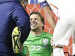epa04972444 Tim Krul (C) goalkeeper of the Netherlands gets medical assistance during UEFA EURO 2016 qualifying round Group A match between Kazakhsan and the Netherlands at Astana Arena stadium in Astana, Kazakhstan, 10 October 2015.  EPA/MAXIM SHIPENKOV