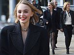 Picture Shows: Lily-Rose Depp, Vanessa Paradis  October 12, 2015\n \n Mother and daughter duo Vanessa Paradis and Lily-Rose Depp are seen arriving at The Mademoiselle Prive Exhibition in London, England.\n \n Sixteen year-old Lily-Rose, who is following her mother's footsteps into a modelling career, wore an oversized black coat and sheer black stockings, along with a swipe of red lipstick.\n \n Exclusive - All Round\n WORLDWIDE RIGHTS\n \n Pictures by : FameFlynet UK � 2015\n Tel : +44 (0)20 3551 5049\n Email : info@fameflynet.uk.com