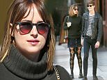 EXCLUSIVE: Dakota Johnson and boyfriend Matthew Hitt looked very loved up as they go for a morning walk. she is seen wearing checkered stockings and a mini skirt.\n\nPictured: Dakota Johnson and Matthew Hitt\nRef: SPL1148278  101015   EXCLUSIVE\nPicture by: Splash News\n\nSplash News and Pictures\nLos Angeles: 310-821-2666\nNew York: 212-619-2666\nLondon: 870-934-2666\nphotodesk@splashnews.com\n