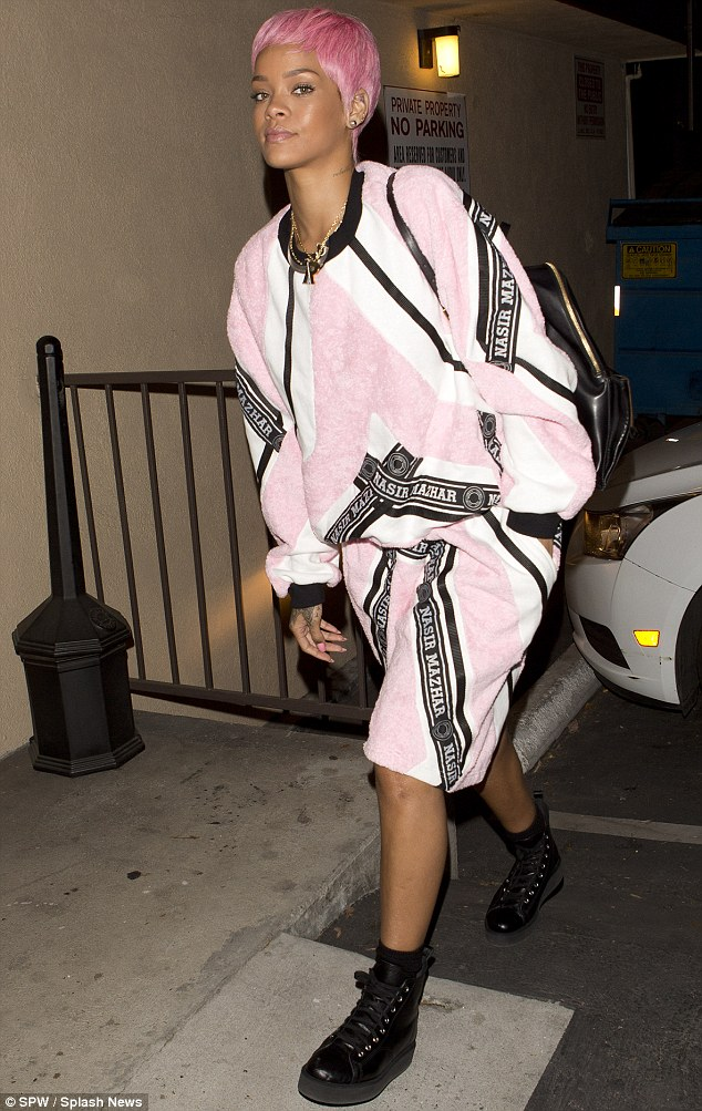 That's unfortunate... Rihanna donned an unflattering ensemble as she arrived at the studio in Los Angeles, California late Saturday night