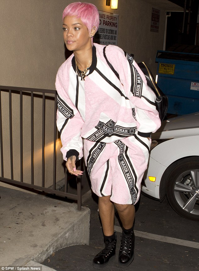 Pink party: Even the star's nail and make-up complemented her new 'do