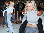 New York, NY - Blonde star Jennifer Lawrence confirmed how great their friendship is by giving comedian Aziz Ansari a piggyback ride to his car following the Saturday Night Live after-party.\nAKM-GSI       October 10, 2015\nTo License These Photos, Please Contact :\nSteve Ginsburg\n(310) 505-8447\n(323) 423-9397\nsteve@akmgsi.com\nsales@akmgsi.com\nor\nMaria Buda\n(917) 242-1505\nmbuda@akmgsi.com\nginsburgspalyinc@gmail.com