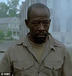 Showdown: As they have had a prior history, it doesn't seem to be the happiest of reunions between Rick Grimes (Andrew Lincoln) and Morgan Jones (Lennie James)