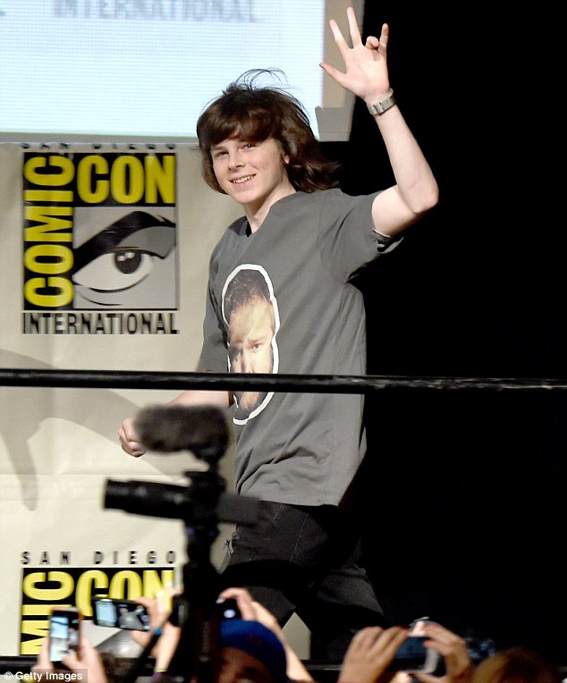 All grown up: Chandler waved to the fans as he walked on stage to begin the panel