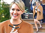 Hilary Duff is all smiles as she takes a walk after filming 'Younger' in the Greenwich Village, NYC  Pictured: Hilary Duff Ref: SPL1149233  121015   Picture by: Splash News  Splash News and Pictures Los Angeles: 310-821-2666 New York: 212-619-2666 London: 870-934-2666 photodesk@splashnews.com