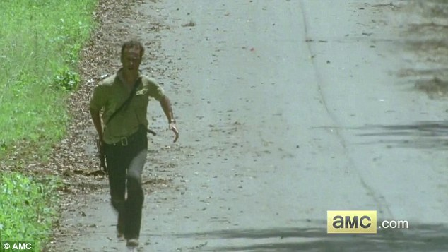 What are you running from? Rick can be seen sprinting alone on the road at the very beginning of the video