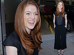 """Rose Leslie, known for her role as Ygritte in HBO fantasy """"Game Of Thrones"""" and now starring alongside Vin Diesel in the supernatural action film """"The Last Witch Hunter"""" enters the HuffPost Live studios, NYC to discuss her current projects.   Ref: SPL1150111  121015   Picture by: Derek Storm / Splash News  Splash News and Pictures Los Angeles: 310-821-2666 New York: 212-619-2666 London: 870-934-2666 photodesk@splashnews.com"""