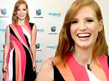 """MIAMI, FL - OCTOBER 12:  Jessica Chastain on the set Of Univisions """"Despierta America"""" to promote the film """"Crimson Peak""""at Univision Studios on October 12, 2015 in Miami, Florida.  (Photo by Gustavo Caballero/Getty Images)"""