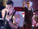 ***MANDATORY BYLINE TO READ INFPhoto.com ONLY***\nRobbie Williams performs live at the Adelaide Entertainment Centre in Adelaide, Australia during his Let Me Entertain You 2015 tour.\n\nPictured: Robbie Williams\nRef: SPL1150876  131015  \nPicture by: INFphoto.com\n\n