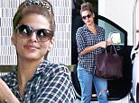 143654, EXCLUSIVE: Eva Mendes seen arriving at The London Hotel in LA. The actress tied her hair up with a scrunchie as she wore a plaid button up shirt, cuffed up ripped denim jeans and wedge heels. Los Angeles, California - Tuesday October 13,  2015. Photograph: Bruja/Sam Sharma, © PacificCoastNews. Los Angeles Office: +1 310.822.0419 sales@pacificcoastnews.com FEE MUST BE AGREED PRIOR TO USAGE