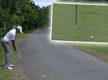 Recovery shot: Charl Schwartzel produces amazing strike at the Volvo Golf Champions in Durban