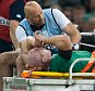 OCT 11th 2015 - CARDIFF, UK - RWC FRANCE V IRELAND - Ireland O'Connell stretchered off  France in the RWC PIcture by Ian Hodgson/Daily Mail