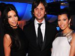 BEVERLY HILLS, CA - FEBRUARY 26:  (L-R) TV Personalities Kim Kardashian, Jonathan Cheban and Kourtney Kardashian arrive at the 20th Annual Elton John AIDS Foundation Academy Awards Viewing Party at The City of West Hollywood Park on February 26, 2012 in Beverly Hills, California.  (Photo by Jamie McCarthy/WireImage)