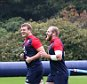 BAGSHOT, ENGLAND - OCTOBER 06:  England warm up during the England training session at Pennyhill Park on October 6, 2015 in Bagshot, England.  (Photo by David Rogers/Getty Images)
