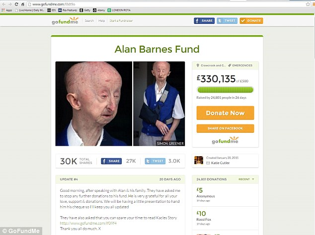 A fund set up for Mr Barnes raised £330,000 with donations of up to £1,000 coming in from around the world