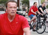 eURN: AD*184691498  Headline: EXCLUSIVE: Arnold Schwarzenegger goes bike riding with his bodyguards in Santa Monica Caption: 143753, EXCLUSIVE: Arnold Schwarzenegger goes bike riding with his bodyguards in Santa Monica. Los Angeles, California - Thursday October 15, 2015. Photograph: Pedro Andrade, © PacificCoastNews. Los Angeles Office: +1 310.822.0419 sales@pacificcoastnews.com FEE MUST BE AGREED PRIOR TO USAGE Photographer: Pedro Andrade, PacificCoastNews Loaded on 15/10/2015 at 18:59 Copyright:  Provider: Pedro Andrade, PacificCoastNews  Properties: RGB JPEG Image (25313K 1510K 16.8:1) 2400w x 3600h at 300 x 300 dpi  Routing: DM News : GeneralFeed (Miscellaneous) DM Showbiz : SHOWBIZ (Miscellaneous) DM Online : Online Previews (Miscellaneous), CMS Out (Miscellaneous)  Parking: