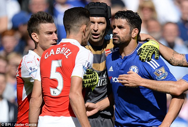 Chelsea's Diego Costa should have been sent off against Arsenal but the Gunners failed to keep their cool