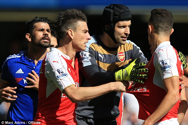 Arsenal defender Gabriel was sent off for clashing with Costa during the first half at Stamford Bridge