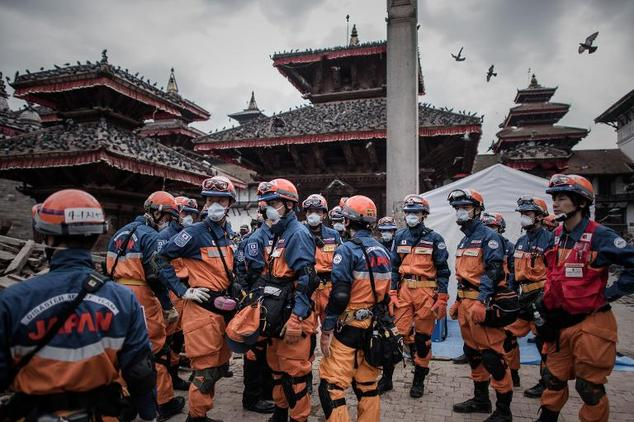 Japanese rescuers in the historical centre of Kathmandu, on April 29, 2015