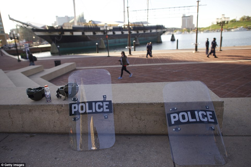 Rest: Riot police shields lay on a concrete bench in the inner harbor under close monitoring by the National Guard following days of citywide riots and protests regarding the death of Freddie Gray