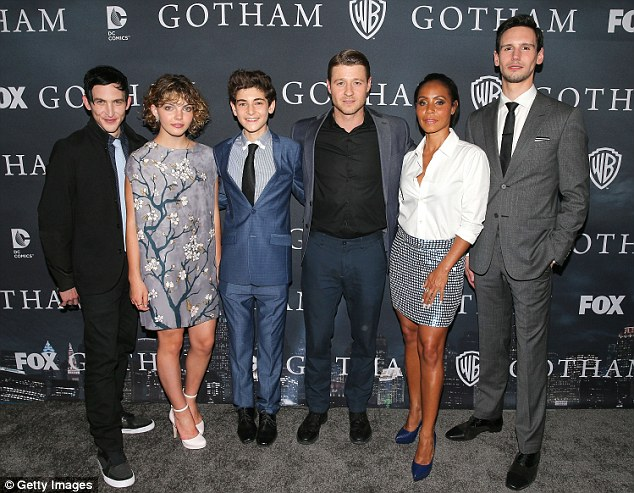 Farewell:Jada joined her castmates Robin Lord Taylor, Camren Bicondova, David Mazouz, Ben McKenzie, and Cory Michael Smith for the screening of the season one finale at the LA theatre