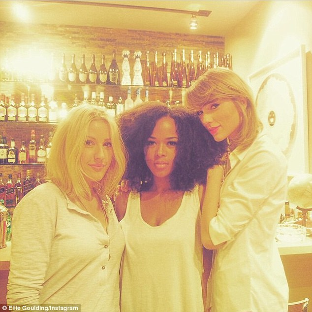 Night in: Ellie Goulding and Serayah joined Taylor Swift for a catch-up at the singer's house on Tuesday alongside her new boyfriend Calvin Harris