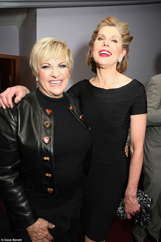 Stunners: Lorna Luft (left) and Christine Baranski looked lovely in little black dresses as they mingled after the show