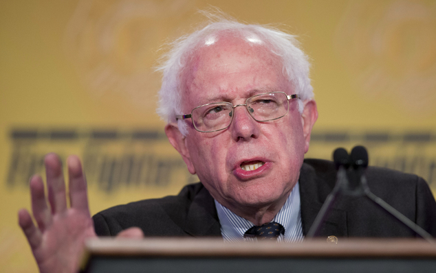 FILE - In this March 10, 2015, file photo, Sen. Bernie Sanders, I-Vt. speaks at the International Association of Firefighters (IAFF) Legislative Conference a...