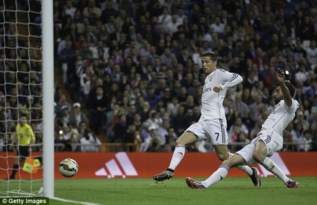Ronaldo was on hand for an easy tap-in, but the Real Madrid right back arrived first to score the goal