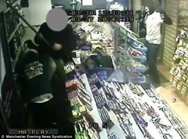 The shopkeeper made a brave attempt to fight off the men, pulling out a  bat and hitting one of the men
