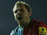 LONDON, ENGLAND - OCTOBER 16: Nick Evans of Harlequins celebrates with Marland Yarde after scoring a try during the Aviva Premiership match between Harlequins and Wasps at Twickenham Stoop on October 16, 2015 in London, England.  (Photo by Steve Bardens/Getty Images for Harlequins)