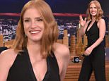 "NEW YORK, NY - OCTOBER 15:  Jessica Chastain Visits ""The Tonight Show Starring Jimmy Fallon"" at Rockefeller Center on October 15, 2015 in New York City.  (Photo by Theo Wargo/NBC/Getty Images for ""The Tonight Show Starring Jimmy Fallon"")"