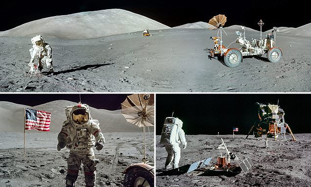 Panoramas of the MOON: Photographer stitches Apollo mission snaps together to reveal the