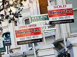 For Sale, Under Offer and Sold signs in West Hampstead, London, UK